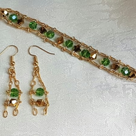 Gorgeous Green and Gold tones Crystal chain cuff bracelet and earring set