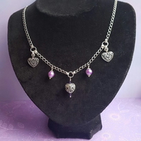 Gorgeous Hearts and purple beads Necklace