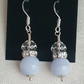 Gorgeous Blue Lace Agate and Clear Crystal Earrings