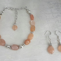 Gorgeous Peach Moonstone bracelet and earring set