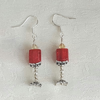 Gothic Love Spell Red candle earrings - Unusual and Unique.