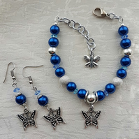Blue glass pearls and Butterflies Bracelet and Earring set