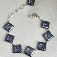Haematite Diamonds and Swarovski Crystal Bracelet