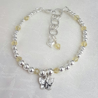 SALE Gorgeous Silver bead and Yellow Crystal Bracelet with Butterfly charm SALE