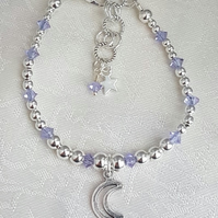 Gorgeous Alexandrite Crystal Bracelet with Crescent Moon charm