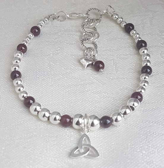 Gorgeous Silver and Garnet bead Bracelet with Triquetra charm