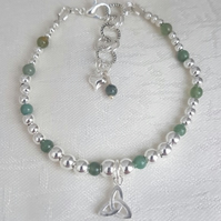 Gorgeous Silver and Green Quartzite bead bracelet with Triquetra Charm.