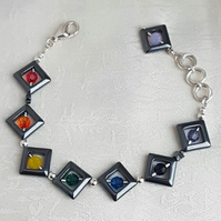 Gorgeous Haematite diamonds and Swarovski Crystal Rainbow Bracelet