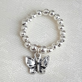 Beautiful Silver Bead Ring with Butterfly charm - UK Ring Size K