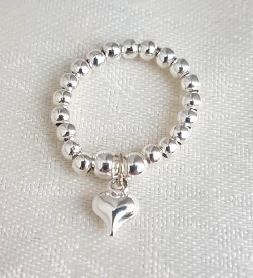 Beautiful Silver bead Ring with Heart charm - Uk Ring Size L-M