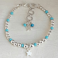 Gorgeous Silver bead and Turquoise Crystal Bracelet with Star Charm