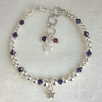 Gorgeous Silver bead and Purple Velvet Crystal bracelet with Star Charm