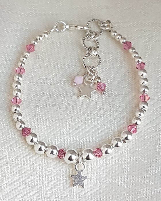 Gorgeous Silver bead and Rose Crystal Bracelet with Star charm