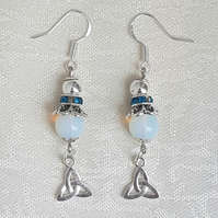 Beautiful Moonstone bead and Triquetra charm Earrings.