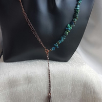 Gorgeous Chrysocolla Lariat-style necklace