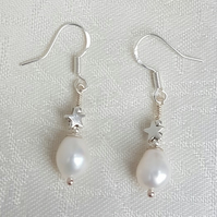 White Pearl and Star Earrings