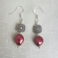 Gorgeous Red Pearl and Fancy Bead Earrings