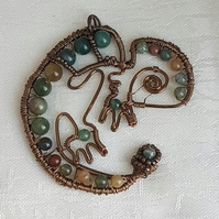Gorgeous Wire wrapped beaded Chameleon pendant on chain