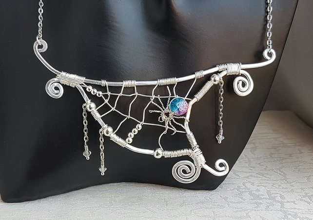 Spook-tacular Spider and Web large pendant on chain.
