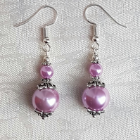 Gorgeous Pinky Lilac Glass Pearl Bead Earrings
