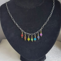 Rainbow Necklace - Dark Silver tone chain