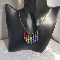 Fabulous Rainbow dangle necklace - Bronze tone chain
