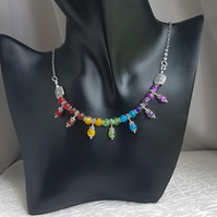 Gorgeous Rainbow trio bead necklace - Silver tone chain