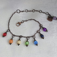 Beautiful Rainbow Bracelet - Antique Bronze tone chain