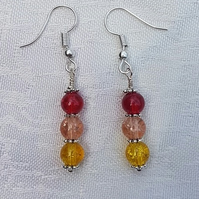 Gorgeous Red Spectrum Earrings No2