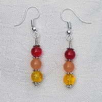 Gorgeous Red Spectrum Earrings No3