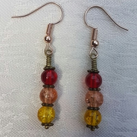 Gorgeous Red Spectrum Earrings - Rose tone No5