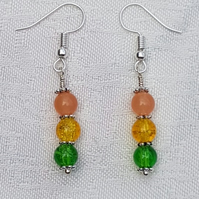 Gorgeous Orange Spectrum Earrings - Silver tone No7