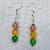 Gorgeous Orange Spectrum Earrings - Silver tone No8