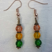 Gorgeous Orange Spectrum Earrings - Rose tone No10