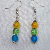 Gorgeous Yellow Spectrum Earrings - Silver tone No12