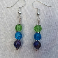 Gorgeous Green Spectrum Earrings - Silver tone No16