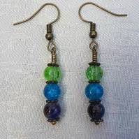 Gorgeous Green Spectrum Earrings - Bronze tone No18