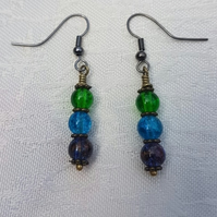 Gorgeous Green Spectrum Earrings - Gunmetal tone No19