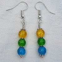 Gorgeous Yellow Spectrum Earrings - Silver tone No13