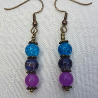 Gorgeous Blue Spectrum Earrings - Bronze tone No21