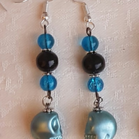 Spooky Bead and Skull dangle Earrings - Ghostly Blue