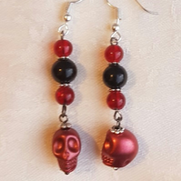 Spooky Bead and Skull dangle earrings - Blood Red