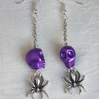 Dangly Skull and Spider Halloween Earrings