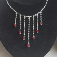 Gorgeous Silver Plated dangle Choker Necklace with Red Crystals