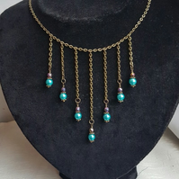 Beautiful Dark tone dangle Choker Necklace with Turquoise Glass Pearls