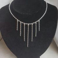 Gorgeous Silver Plated Chain Dangle Choker Necklace
