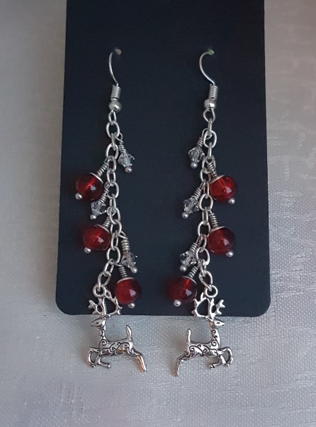Dangly Red Bead and Reindeer charm Earrings.