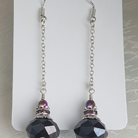 Beautiful Dangly Dark Crystal Earrings