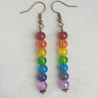 Gorgeous Rainbow Bead Stick Dangle Earrings - Antique Bronze tone