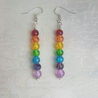 Gorgeous Rainbow Bead Stick Dangle Earrings - Silver tones